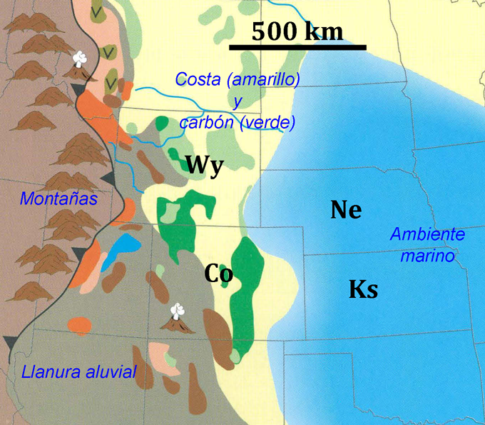 Esquema en el que se muestra la paleogeografía de las Llanuras Altas durante el Maastrichtiense, entre los 72 y los 66 millones de años (Ma). Wy, Wyoming; Co, Colorado; Ne, Nebraska; Ks, Kansas. Figura tomada del U.S. Geological Survey Professional Paper 1561 de Roberts, L.N.R. y Kirschbaum, M.A. (1995).