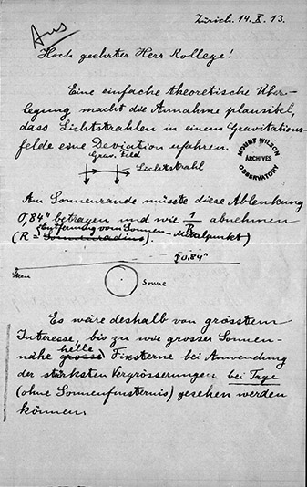 Carta de Einstein a Hale (tomada del blog de la Huntington Library)