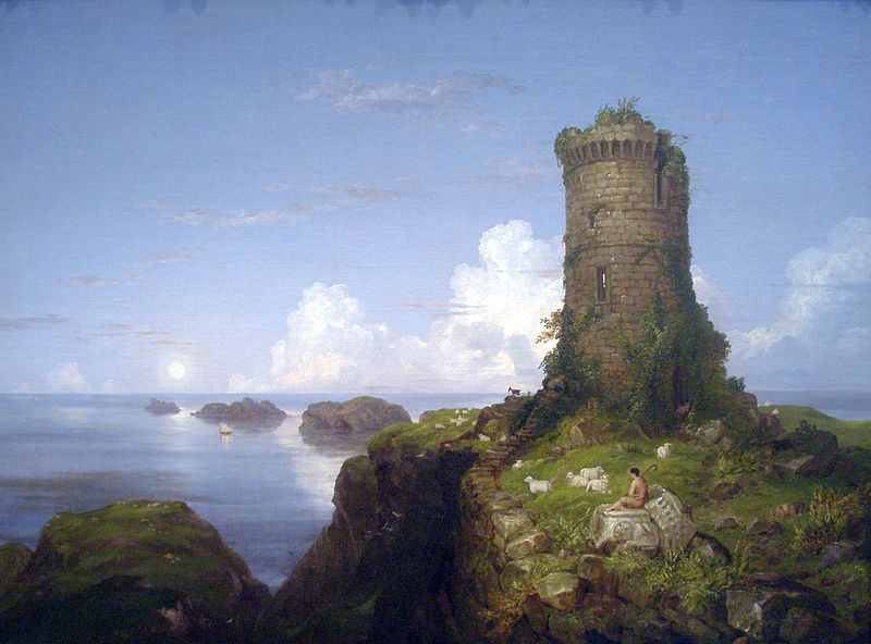 Scene with Ruined Tower, Thomas Cole (1838)