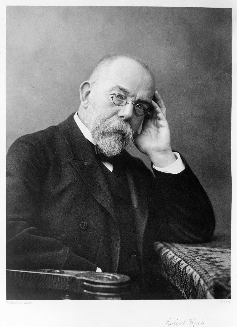 "Robert Koch (1843-1910). <a href=""https://wellcomecollection.org/works/msnrpmrc"" target=""_blank""><em>Wellcome Library.</em></a>"